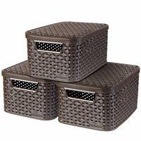Curver Style Aufbewahrungsbox mit Deckel 3 Stk. S Braun 240646