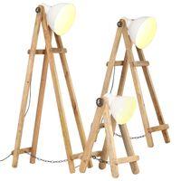 vidaXL Stehlampen 3 Stk. Weiß E27 Mango Massivholz