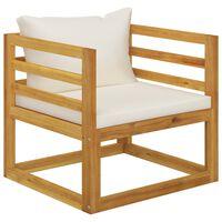 vidaXL Gartenstuhl mit Cremeweißen Auflagen Massivholz Akazie