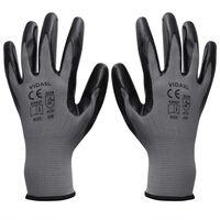 vidaXL Arbeitshandschuhe Nitril 24 Paar grau und schwarz Gr. 9/L