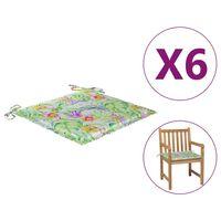 vidaXL Gartenstuhl-Sitzkissen 6 Stk. Blattmuster 50x50x4 cm Stoff