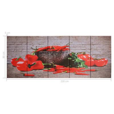 vidaXL Leinwandbild-Set Paprika Mehrfarbig 200×80 cm