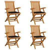 vidaXL Gartenstühle mit Schwarzen Kissen 4 Stk. Teak Massivholz