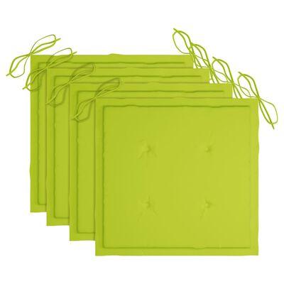 vidaXL Gartenstühle mit Hellgrünen Kissen 4 Stk. Massivholz Teak