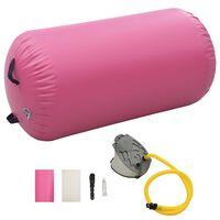 vidaXL Aufblasbare Gymnastik-Rolle mit Pumpe 120x75 cm PVC Rosa