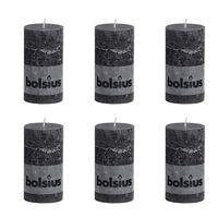 Bolsius Rustic Stumpenkerze Stumpen Kerzen Kerze 130 x 68 mm rauchgrau