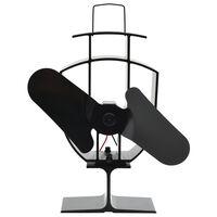 vidaXL Wärmebetriebener Kaminventilator 2 Blätter Schwarz