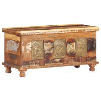 vidaXL Aufbewahrungsbox mit Buddha-Verzierung 90x35x45 cm Altholz