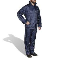Blaue Regenbekleidung für Männer 2-teilig mit Kapuze Größe XL