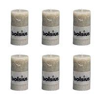 Bolsius Stumpenkerze Kerzen 130x68mm kieselgrau 6 tlg.