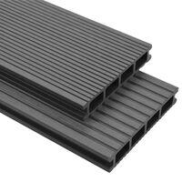 vidaXL WPC Terrassendielen mit Montagezubehör 30 m² 2,2 m Grau