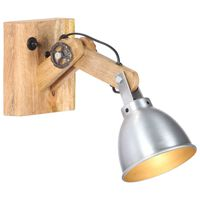 vidaXL Wandlampe E27 Silbern Mango Massivholz und Eisen