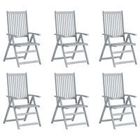 vidaXL Verstellbare Gartenstühle 6 Stk. Grau Massivholz Akazie