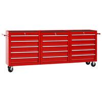 vidaXL Werkzeugwagen mit 15 Schubladen Stahl Rot