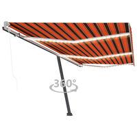 vidaXL Automatic Awning with LED&Wind Sensor 600x300 cm Orange/Brown (313264+46864+315098)