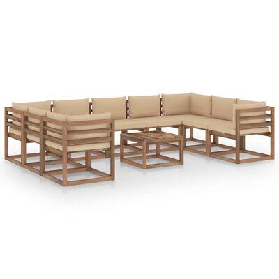 vidaXL 10-tlg. Garten-Lounge-Set mit Beigen Kissen