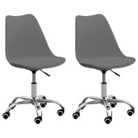 vidaXL Bürostühle 2 Stk. Grau Kunstleder