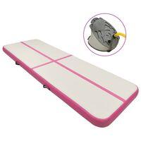 vidaXL Aufblasbare Gymnastikmatte mit Pumpe 400x100x20 cm PVC Rosa