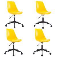 vidaXL Drehbare Esszimmerstühle 4 Stk. Gelb Kunstleder