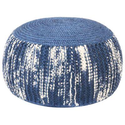 vidaXL Handgestrickter Pouf Blau und Weiß 50×35 cm Wolle