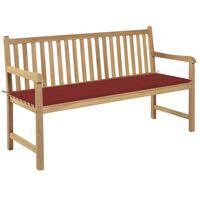 vidaXL Gartenbank mit Roter Auflage 150 cm Massivholz Teak