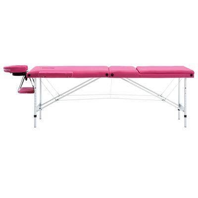vidaXL Massagetisch Klappbar 3 Zonen Aluminium Rosa