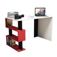 Homemania Computer-Schreibtisch Snap 120x60x75cm Weiß Schwarz Rot