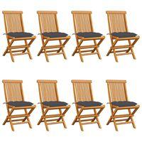 vidaXL Gartenstühle mit Anthrazit Kissen 8 Stk. Massivholz Teak