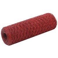 vidaXL Drahtzaun Stahl mit PVC-Beschichtung 25x0,5 m Rot