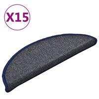 vidaXL Treppenmatten 15 Stk. Dunkelgrau und Blau 56x17x3 cm