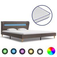 vidaXL Bett mit LED und Memory-Schaum-Matratze Taupe Stoff 160×200 cm