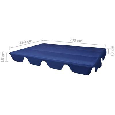 vidaXL Ersatzdach für Gartenschaukel Blau 226x186 cm