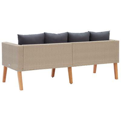 vidaXL 2-Sitzer-Gartensofa mit Auflagen Poly Rattan Beige