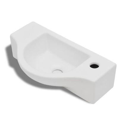 Keramik Waschbecken mit Hahnloch weiß
