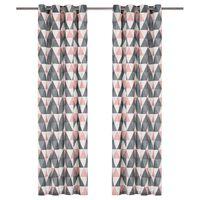 vidaXL Vorhänge mit Metallösen 2 Stk. Baumwolle 140x175cm Grau Rosa