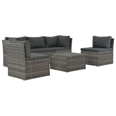 vidaXL 4-tlg. Garten-Lounge-Set mit Polstern Poly Rattan Grau