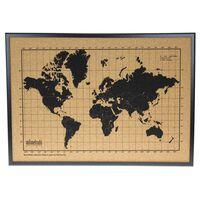 milimetrado Weltkarte Kork mit Holzrahmen Schwarz und Braun 70 x 50 cm