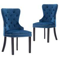 vidaXL Esszimmerstühle 2 Stk. Blau Samt