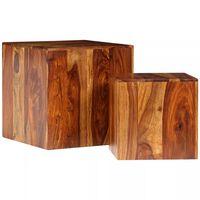 vidaXL Couchtisch-Set 2-tlg. Massivholz 40 x 40 x 40 cm