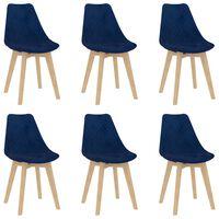 vidaXL Esszimmerstühle 6 Stk. Blau Samt