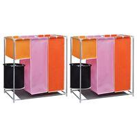 vidaXL 3-Kammer-Wäschekorb 2 Stk. mit Wascheimer