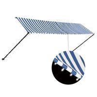 vidaXL Einziehbare Markise mit LED 400×150 cm Blau und Weiß