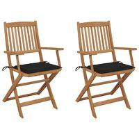 vidaXL Klappbare Gartenstühle 2 Stk. mit Kissen Massivholz Akazie