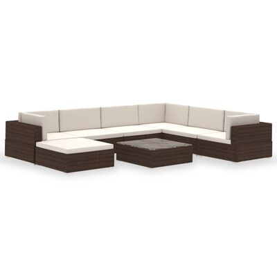 vidaXL 8-tlg. Garten-Lounge-Set mit Auflagen Poly Rattan Braun