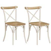 vidaXL Esszimmerstühle 2 Stk. Weiß Mango-Massivholz