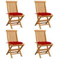 vidaXL Gartenstühle mit Roten Kissen 4 Stk. Massivholz Teak