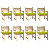 vidaXL Gartenstühle 8 Stk. mit Hellgrünen Kissen Massivholz Teak