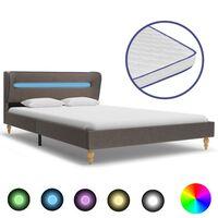 vidaXL Bett mit LED und Memory-Schaum-Matratze Taupe Stoff 140×200 cm