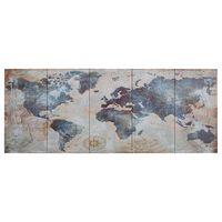 vidaXL Leinwandbild-Set Weltkarte Blau 150 x 60 cm