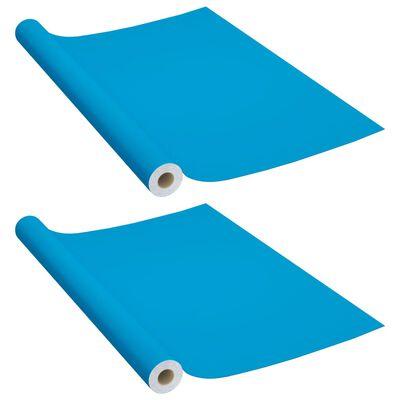 vidaXL Möbelfolien Selbstklebend 2 Stk. Azurblau 500x90 cm PVC